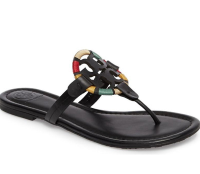 85b417b7b Tory Burch NEW Miller Black Leather Embroidered Colorful Flat Sandals Runs  Small • 179.00