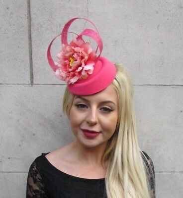 Coral Peach Pink Rose Flower Pillbox Hat Hair Fascinator Clip Races Wedding 6608 • 21.95£