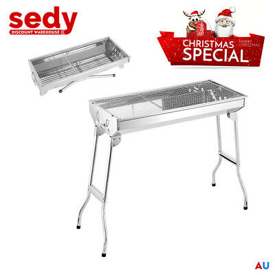 AU42.99 • Buy Charcoal BBQ Grill Stainless Steel Portable Outdoor Steel Rack Roaster Smoker