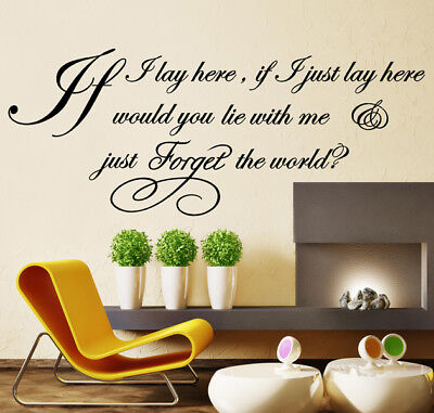 WALL QUOTES IF I LAY HERE SNOW PATROL Lyric Wall Decal Stickers WALL ART N37 • 7.99£