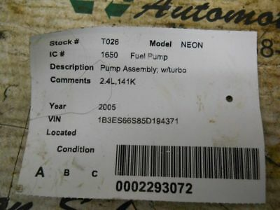 $68 • Buy Fuel Pump Assembly With Turbo Fits 03-05 NEON 251015