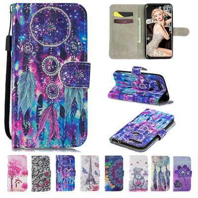 AU17.99 • Buy For Huawei Y6 Y5 Y7 Nova 3i Mate 20 P20 Patterned Leather Wallet Card Cover Case