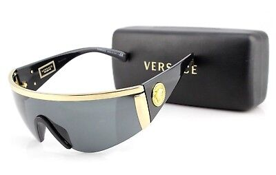 1cbc1817b303 NEW Genuine VERSACE TRIBUTE Black Gold Grey Shield Sunglasses VE 2197 1000  87 D •