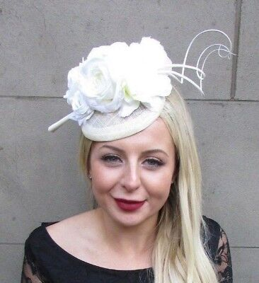 Ivory Cream Sinamay Rose Feather Flower Fascinator Hat Hair Clip Races 6642 • 31.95£