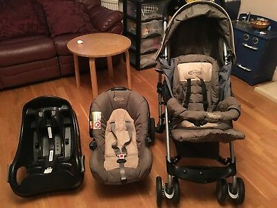 Graco Mosaic Travel System Includes Push Chair, Car Seat, Isofix Car Seat Base • 70£