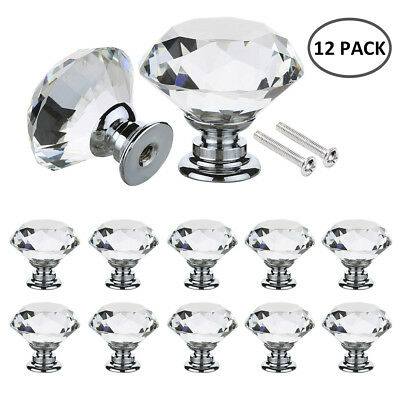 12PCS Clear Crystal Diamond Glass Door Knobs Cupboard Drawer Cabinet Handle • 7.99£