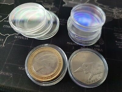 Coin Capsules Clear Holder Container For 20p Pence Storage 22mm X10 X20 X50 X100 • 8£