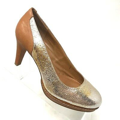 597b6c7a8be Schuler Sons Earth Gold Leather Platform Pump Wrapped Heel Womens Shoe SIZE  10 B • 39.99