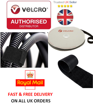 VELCRO® Brand ONE-WRAP® 20mm Cable Tie Black Double Sided Hook / Loop Strapping • 1.95£