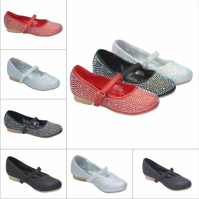 £7.99 • Buy Girls Party Wedding Special Occasion Shoes Diamante Glitter Strappy Flat 10-2