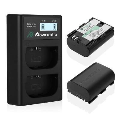 Powerextra 2 Pack LP-E6 LP-E6N Rechargerable Battery And Dual LCD Charger... • 30.47£