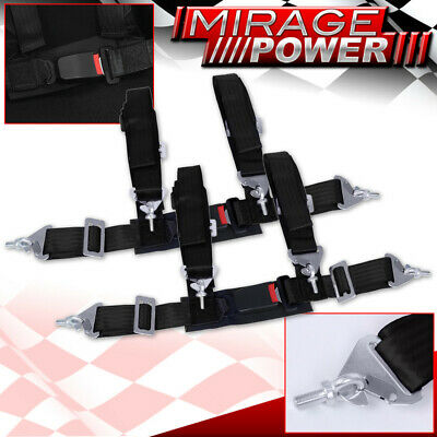 $ CDN65.20 • Buy Black 4 Point Safety Seat Belt Harness Strap Pair 2  W/ Buckle Latch On / Off