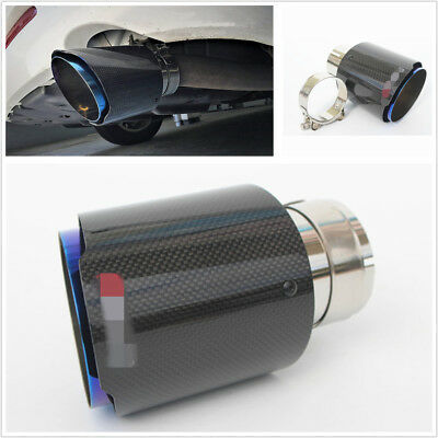 $ CDN51.01 • Buy Stainless Steel + Carbon Fiber Inlet 3'' Outlet 4'' Car Exhaust Tip Muffler Pipe