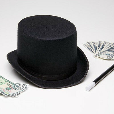 a7d0d8d435ee7 Black Tall Top Hat Steampunk Halloween Magician Mad Hatter Ringmaster  Costume • 3.64