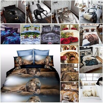 Duvet Cover Sets 3D Animal Print Bedding Pillow Cases Al King Size Double Single • 21.99£