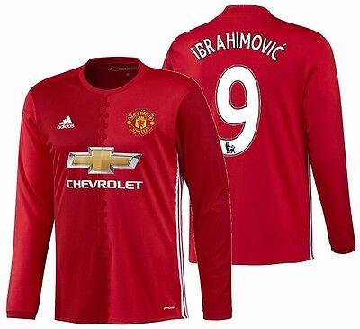 AU188.15 • Buy Adidas Zlatan Ibrahimovic Manchester United Long Sleeve Home Jersey 2016/17