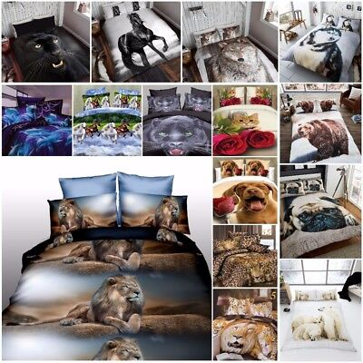 Duvet Cover Set 3D Animal Print Bedding Pillow Cases All King Size Double Single • 18.99£