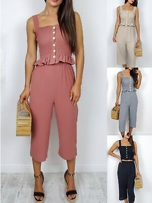Women Ladies Summer Pleated Ruffle Cami Top Trouser Co-ords Suit 2 Pieces Set  • 12.99£