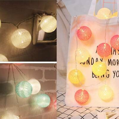 20 LED Globe Garland Cotton Ball String Fairy Lights Christmas Decorate Plug-In • 8.29£