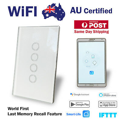AU59.45 • Buy Smart WIFI Touch Home Automation 4 Gang Wall Switch Google Home Alexa IFTT