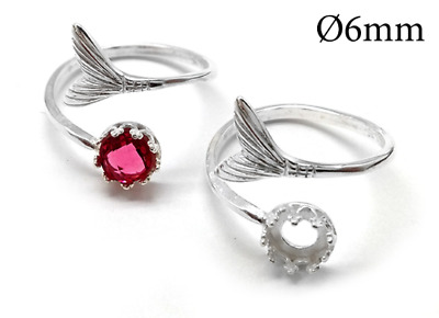 £6.44 • Buy 1pc Sterling Silver 925 Adjustable Mermaid Tail Ring 6mm, Bezel Cup Setting Ring