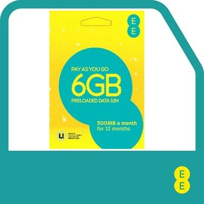 £24.95 • Buy EE Pay As You Go Data Sim Preloaded With 6GB - 500mb A Month For 12 Months