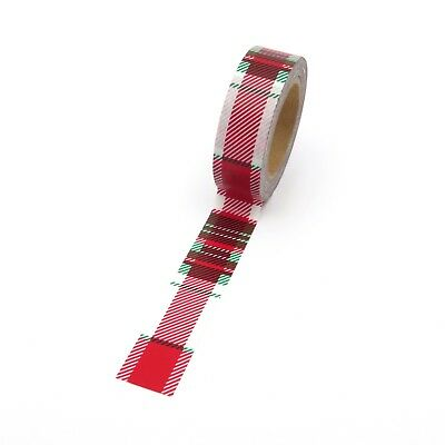 AU5.50 • Buy Christmas Washi Tape Red Tartan Check Pattern 15mm X 10m