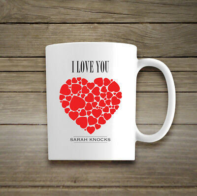 Personalised I Love You Mug Cup Gift Valentines Day Wedding Anniversary Her Him • 11.59£