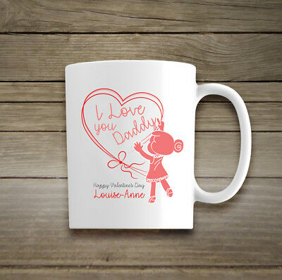 Personalised Happy Valentines Day Mug Cup Daddy I Love You For Him Child Baby • 11.59£