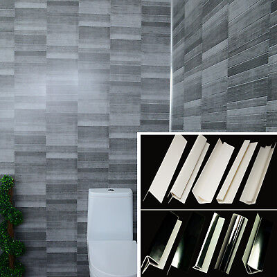 Grey Tile Effect Bathroom 8mm Panels Anthracite Cladding Shower WC Wet Wall PVC • 25.86£