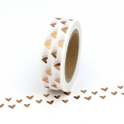 AU5.50 • Buy Washi Tape Rose Gold Foil Hearts Gilded Copper Valentines 15mm X 10m