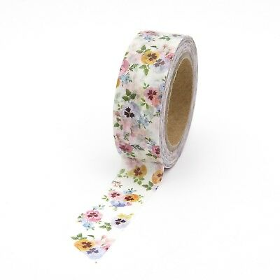 AU5.50 • Buy Washi Tape Floral Pansy Multi Coloured Flowers 15mmx10m