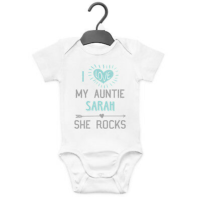 I Love My Auntie She Rocks Personalised Baby Grow Vest Custom Funny Gift Cute  • 7.99£