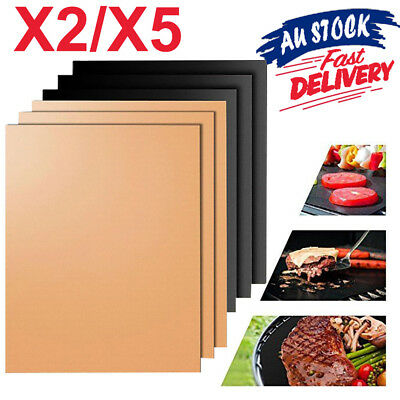 AU11.50 • Buy BBQ Grill Mat Reusable Bake Sheet Resistant Teflon Party Meat Barbecue Non-Stick