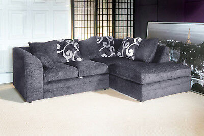New Small 3 Seater Corner Sofa In Black Or Grey, Chenille Fabric Cheap Sofa Sale • 499£