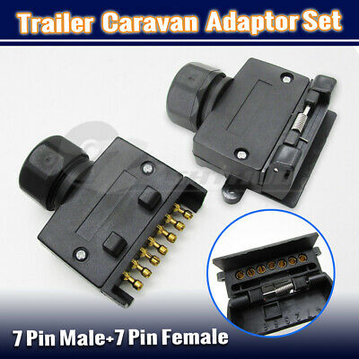 AU14.95 • Buy 7 Pin Male Female Flat Socket Plug Set Trailer Adaptor Caravan Wiring Connector