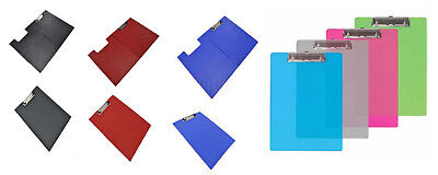 A4 Strong Clipboard Single, Fold-Over, PP Transparent Many Colors & Clear • 9.99£