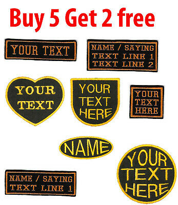 PERSONALISED NAME  BIKER SCOOTER  PATCHES BADGES EMBROIDERED IRON ON SEW On TAG • 2.35£