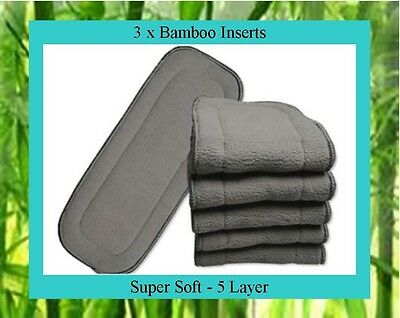 AU12.95 • Buy 3 X Bamboo Charcoal Inserts / Boosters For Cloth Nappies
