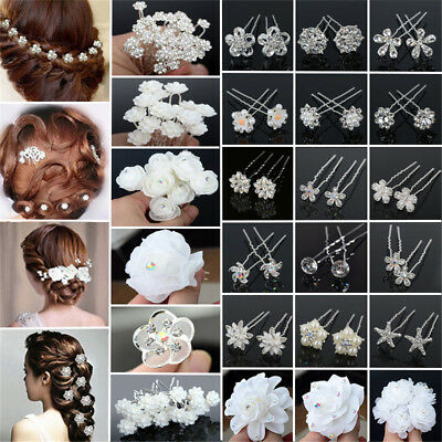 $0.99 • Buy Lot 20/40Pcs Wedding Bridal Pearl Rose Flower Hair Pins Crystal Rhinestone Clips