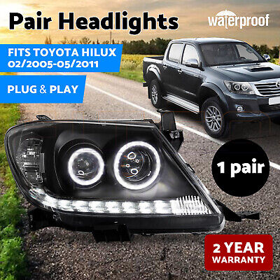 AU385 • Buy PAIR Headlights Black DRL HALO Projector Angel Eyes Fits Toyota HILUX 2005-2011