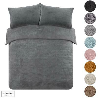 Brentfords Teddy Fleece Duvet Cover With Pillow Case Thermal Warm Bedding Set • 16£
