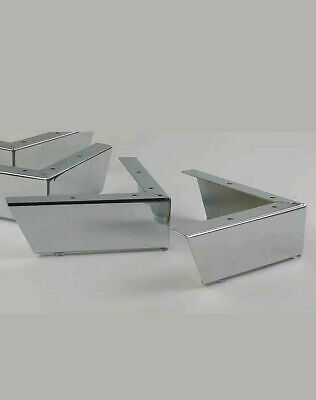 CHROME FEET 4 X CHROME FURNITURE LEGS FOR SOFAS CHAIRS SETTEE STOOLS PRE DRILLED • 17.99£