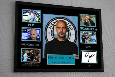 £17.99 • Buy PEP  GUARDIOLA MAN CITY Framed A4 Canvas Tribute Print  Signed