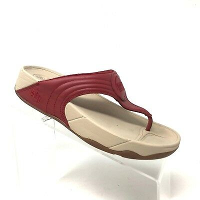 ba5f0f854db0 Fitflop Walkstar 3 Red Leather Flip Flop Thong Toning Sandal Womens Shoe  SIZE 8 • 24.50