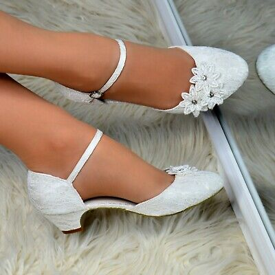 Womens Ivory Low Kitten Heel Shoes Floral Satin Lace Wedding Party Pumps Size • 24.86£