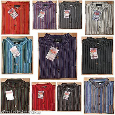 Grandad Cotton Bares Colorful Strippy Shirts Traditional Hippy Boho Indian Kurta • 13.99£