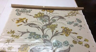 Christopher Farr Cloth Flower Show Honey Laminated Coated Fabric 1 Yard 52 W • 72.35£