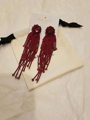 $ CDN49.35 • Buy Kate Spade New York Glitzville Beaded Tassel Earrings NWT $68 RED