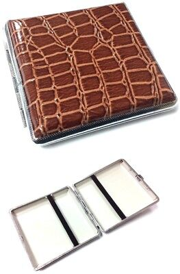 PU Leather Cigarette Case Holder Chrome Metal Tin 20 CIGARETTE HOLDER CASE BROWN • 4.99£